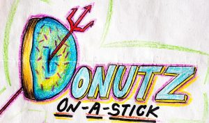 Donutz on a stick sketched logo